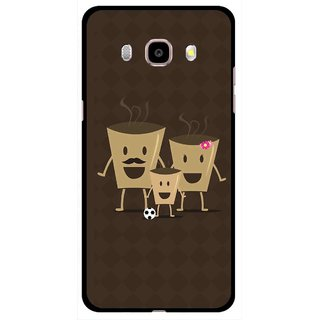 Snooky Printed Wake Up Coffee Mobile Back Cover For Samsung Galaxy J5 (2017) - Brown