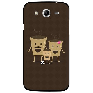 Snooky Printed Wake Up Coffee Mobile Back Cover For Samsung Galaxy Mega 5.8 - Brown