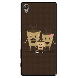 Snooky Printed Wake Up Coffee Mobile Back Cover For Sony Xperia X - Brown