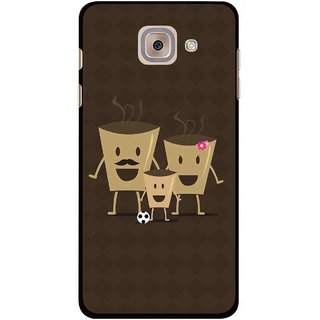 Snooky Printed Wake Up Coffee Mobile Back Cover For Samsung Galaxy J7 Max - Brown