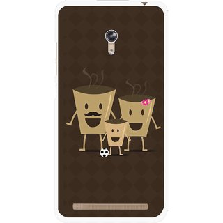 Snooky Printed Wake Up Coffee Mobile Back Cover For Asus Zenfone 6 - Brown