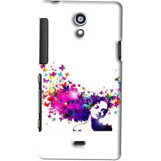 Snooky Printed Flowery Girl Mobile Back Cover For SONY XPERIA T - Multi