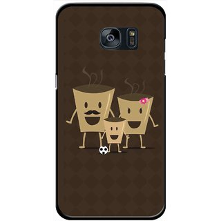 Snooky Printed Wake Up Coffee Mobile Back Cover For Samsung Galaxy S7 - Brown