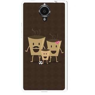 Snooky Printed Wake Up Coffee Mobile Back Cover For Gionee Elife E7 - Brown