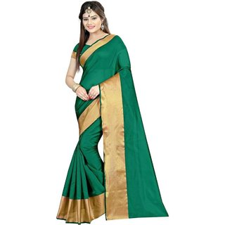 4Tigers New Designer Womens Cotton Silk Saree With Blouse Piece