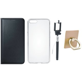 Vivo Y55 Premium Leather Cover with Ring Stand Holder, Silicon Back Cover, Free Silicon Back Cover and Selfie Stick