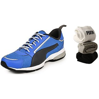 Combo Offer - Puma Triton Idp Blue Mens Running Sports Shoes + 3 Pair Of Puma Socks (Ankle length) Free
