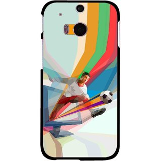 Snooky Printed Kick FootBall Mobile Back Cover For HTC One M8 - Multicolour