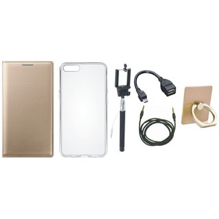 Lenovo K8 Plus Premium Leather Cover with Ring Stand Holder, Silicon Back Cover, Selfie Stick, OTG Cable and AUX Cable