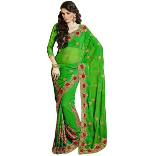 Triveni Green Chiffon Embroidered Saree With Blouse