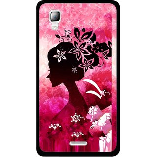 Snooky Printed Pink Lady Mobile Back Cover For Micromax Canvas Doodle 3 A102 - Pink