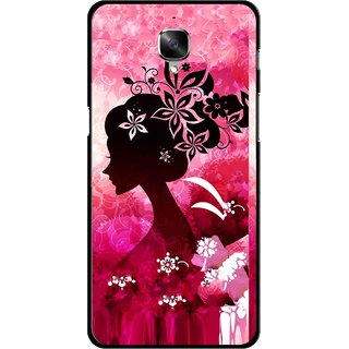 Snooky Printed Pink Lady Mobile Back Cover For OnePlus 3 - Pink