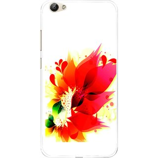 Snooky Printed Flowery Red Mobile Back Cover For Vivo Y55 - Multi