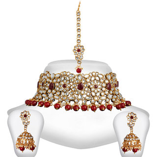 da838591db7 Spargz Gold Plated Red White Kundan Pearl Choker Indian Bollywood Bridal Jewelry  Set For Women AINS252