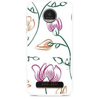 Snooky Printed Flower Sketch Mobile Back Cover For Moto Z - Multi