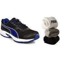 Combo Offer - Puma Adamo (Blue Black) Men's Running Sports Shoes + 3 Pair Of Puma Socks (Ankle Length) Free