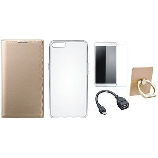 Oppo A57 Leather Cover with Ring Stand Holder, Silicon Back Cover, Tempered Glass and OTG Cable