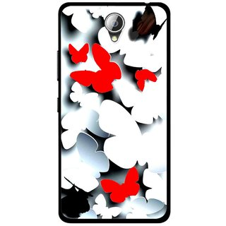 Snooky Printed Butterfly Mobile Back Cover For Lenovo A5000 - Multicolour