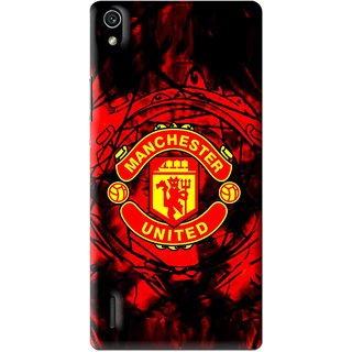 Snooky Printed Red United Mobile Back Cover For Huawei Ascend P7 - Multi