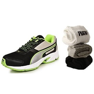 Combo Offer - Puma Adamo Green Black Mens Running Sports Shoes + 3 Pair Of  Puma Socks (Ankle Length) Free