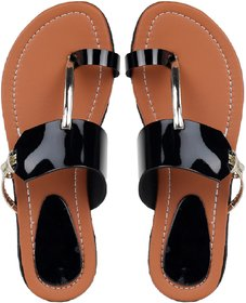 Do Bhai Women's Black Sandal