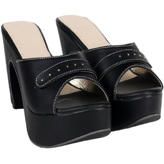 Do Bhai Women's Black Heels