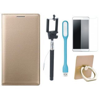 Redmi A1 Leather Flip Cover with with Ring Stand Holder, Free Selfie Stick, Tempered Glass, and LED Light