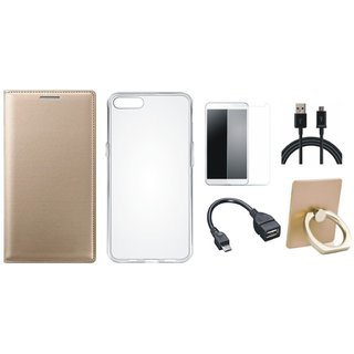 Redmi A1 Leather Flip Cover with with Ring Stand Holder, Silicon Back Cover, Tempered Glass, OTG Cable and USB Cable