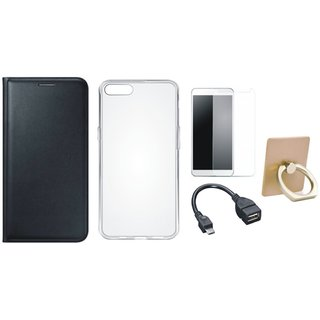 Oppo A37 Flip Cover with Ring Stand Holder, Silicon Back Cover, Tempered Glass and OTG Cable