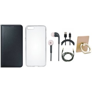 Oppo A37 Flip Cover with Ring Stand Holder, Silicon Back Cover, Earphones, USB Cable and AUX Cable