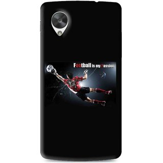 Snooky Printed Football Passion Mobile Back Cover For Lg Google Nexus 5 - Multi