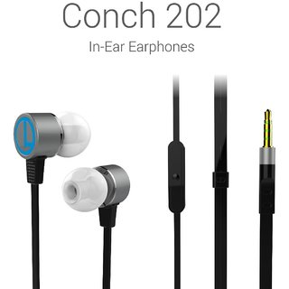 Portronics Conch 202 (Black) In-Ear Stereo Headphone having 3.5mm Aux port In-Line high Quality mic Soft silicon Ear-bud