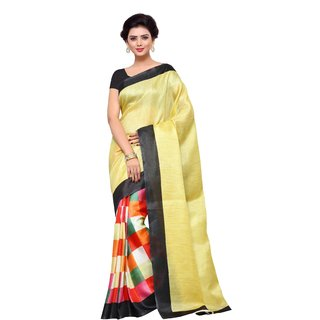 4Tigers New Designer Womens Khadi Silk Saree With Blouse Piece
