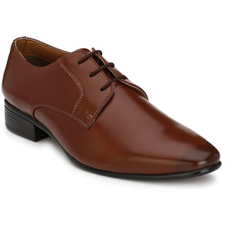 Hirel's Brown Plain Derby Synthetic Leather Formal Shoes