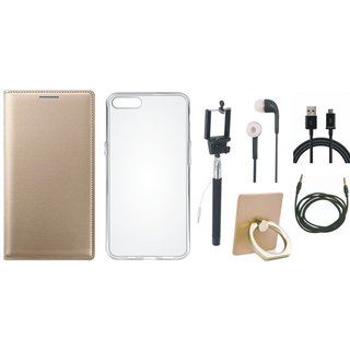 Vivo Y55 Leather Cover with Ring Stand Holder, Silicon Back Cover, Selfie Stick, Earphones, USB Cable and AUX Cable