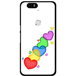 Snooky Printed Colorfull Hearts Mobile Back Cover For Huawei Nexus 6P - Multi