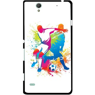 Snooky Printed Footbal Mania Mobile Back Cover For Sony Xperia C4 - Multicolour