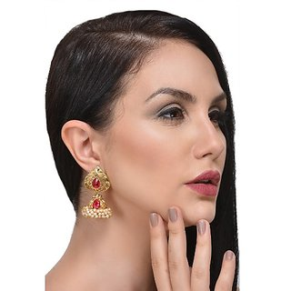 Meia Gold Plated Pink Alloy Jhumkis For Women