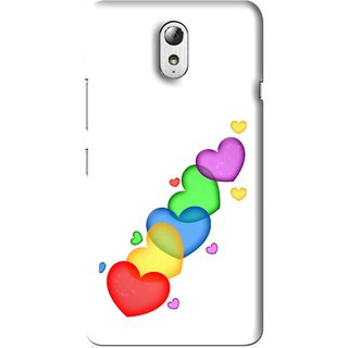 Snooky Printed Colorfull Hearts Mobile Back Cover For Lenovo Vibe P1M - Multi