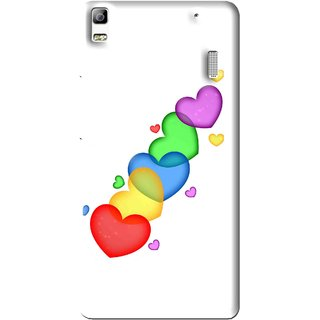 Snooky Printed Colorfull Hearts Mobile Back Cover For Lenovo A7000 - Multi