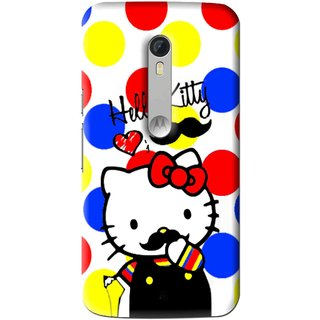 Snooky Printed moustache Kitty Mobile Back Cover For Motorola Moto X Style - Multi