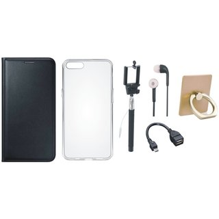 Oppo A37 Leather Flip Cover with with Ring Stand Holder, Silicon Back Cover, Selfie Stick, Earphones and OTG Cable