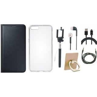 Oppo A37 Leather Flip Cover with with Ring Stand Holder, Silicon Back Cover, Selfie Stick, Earphones, USB Cable and AUX Cable