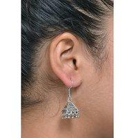 Meia  Black Triangle  Beads Drop Oxidised Jhumki EarringsFAC0692