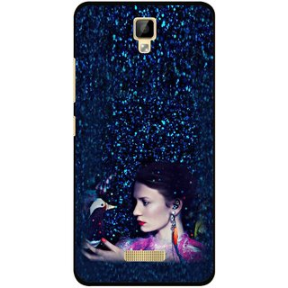 Snooky Printed Blue Lady Mobile Back Cover For Gionee P7 - Multicolour