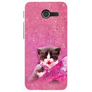 Snooky Printed Pink Cat Mobile Back Cover For Asus Zenfone 4 - Multicolour