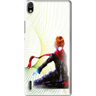 Snooky Printed Stylo Boy Mobile Back Cover For Huawei Ascend P7 - Multi
