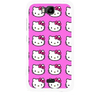 Snooky Printed Pink Kitty Mobile Back Cover For Huawei Honor Bee - Multicolour