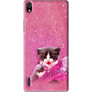 Snooky Printed Pink Cat Mobile Back Cover For Huawei Ascend P7 - Multi