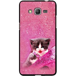 Snooky Printed Pink Cat Mobile Back Cover For Samsung Galaxy Grand Max - Multicolour